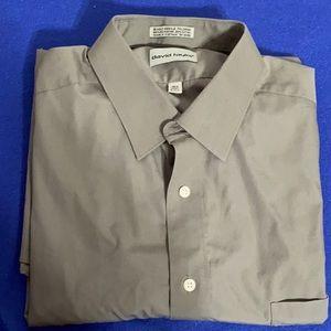 Men's Light Gray Shirt Sleeve Dress Shirt